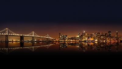 San Francisco–Oakland Bay Bridge, City Skyline, Cityscape, Night time, City Lights, Body of Water, Reflection, Skyscrapers, 5K, 8K