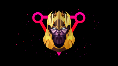 Thanos, AMOLED, Low poly, Artwork, Black background