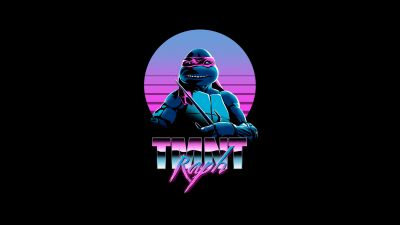 Raphael, TMNT, Teenage Mutant Ninja Turtles, AMOLED, Neon, Black background, 5K