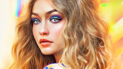 Gigi Hadid, American model, Portrait, Artwork, Paint