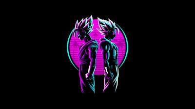 Vegeta, Vegito, Fusion, Dragon Ball Z, Neon, AMOLED, Black background, 5K