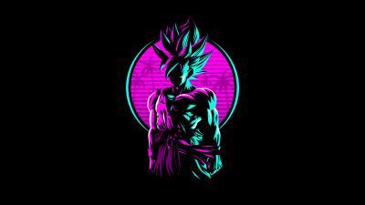 Goku, Dragon Ball, AMOLED, Retro, Artwork, Neon, Black background, 5K