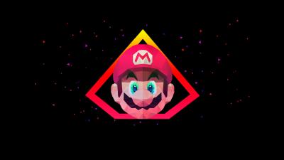 Super Mario, AMOLED, Low poly, Artwork, Black background