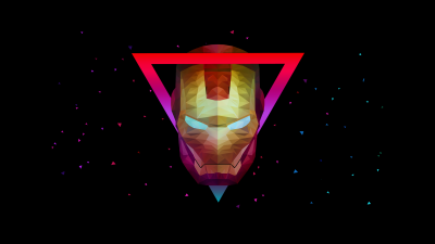 Iron Man, Marvel Superheroes, AMOLED, Low poly, Artwork, Black background