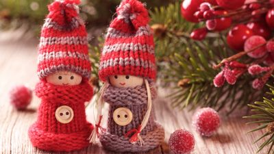 Christmas decoration, Toys, Knitted Toys, Red, Cherries, Cute dolls