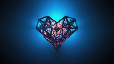 Heart, Low poly, Artwork, Glow, Blue background, Heartbeat
