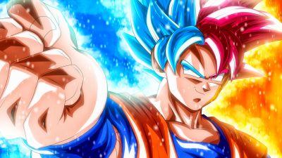 Goku, Super Saiyan Blue, Super Saiyan God, Dragon Ball Super, 5K