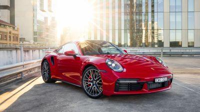 Porsche 911 Turbo, 2021, Red cars
