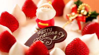 Merry Christmas, Santa Claus, Strawberry dessert, Cute, Bokeh