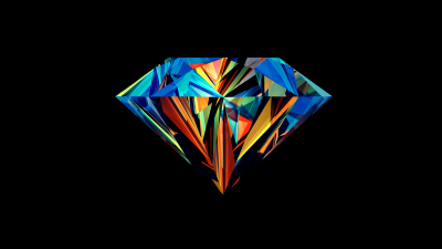 Diamond, Low poly, Colorful, Artwork, AMOLED, Black background