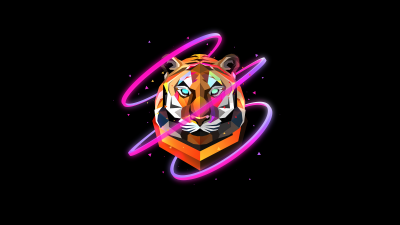 Tiger, Low poly, Artwork, AMOLED, Black background, Neon