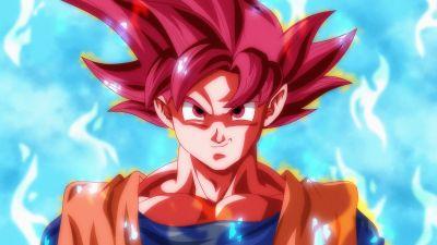 Super Saiyan God, Goku, Dragon Ball Super, 5K