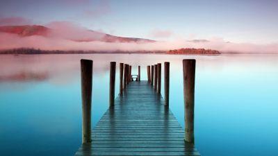 Wooden pier, Sunrise, Morning, Seascape, River, Lake, Scenic, Mist, 5K