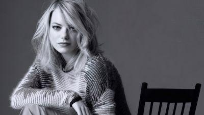 Emma Stone, American actress, Monochrome, Beautiful actress, 5K