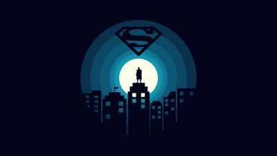 Superman, DC Superheroes, Dark background, Minimal art, 5K