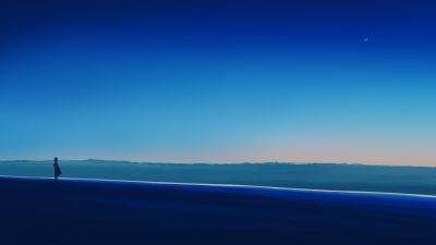 Alone, Lonely, Mood, Blue sky, Horizon, Panoramic, Crescent Moon, 5K