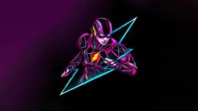 The Flash, Neon art, Purple background, Multicolor, 5K