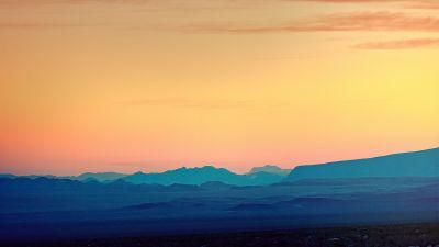 Mountains, Landscape, Evening sky, Dusk