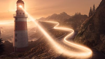 Lighthouse, Road, Coastline, Sunset, Light, Surreal
