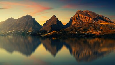 Mountains, River, Reflection, Evening, Dusk, 5K