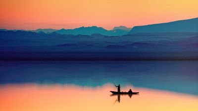 Mountains, Lake, River, Dusk, Evening, Reflection, Boating, Silhouette
