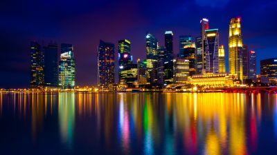 Marina Bay, Singapore, Cityscape, Night, City lights, Skyscrapers, Metropolitan