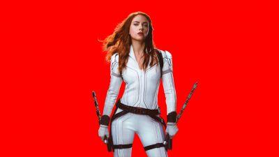Black Widow, Scarlett Johansson, DC Comics, 2020 Movies, Red background, 5K, 8K
