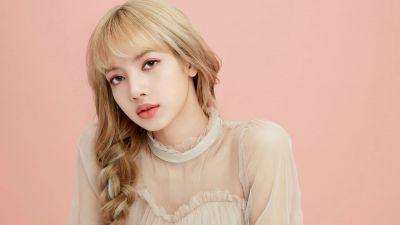 Lisa, Blackpink, K-Pop singer, Beautiful, Peach background