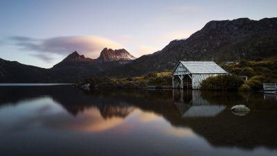 Cradle Mountain, Dove Lake Boathouse, Lake, Mountains, Evening, Sunset, Dark, Reflection, 5K