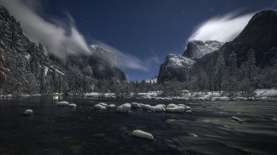 Yosemite National Park, Landscape, Winter, River, Evening, 5K, 8K