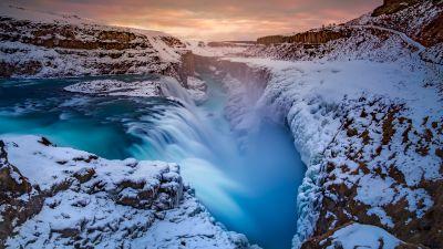 Waterfall, Winter, River, Iceland, Long exposure, 5K