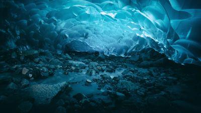 Ice caves, Frozen, Glacier, Mendenhall Glacier, Underwater, Turquoise, Alaska, 5K, 8K