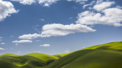 Landscape, Scenery, Green Fields, Clouds, Sunny day, 5K