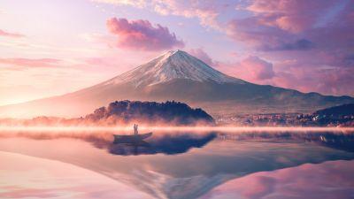Mount Fuji, Volcano, Japan, River, Reflection, Boat, Couple, 5K
