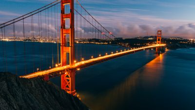 Golden Gate Bridge, San Francisco, Evening, Lights, California, Sunset, 5K