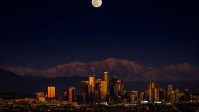 Los Angeles, Downtown, Cityscape, Night, Full moon, Dark, 5K, 8K