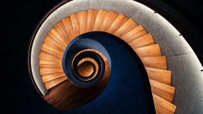 Spiral staircase, Wooden stairs, Swirling Vortex, 5K