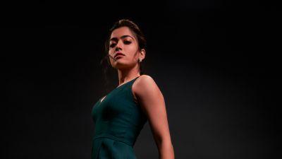 Rashmika Mandanna, South Actress, Indian actress, Tollywood, Kollywood, Dark background, 2021, 5K