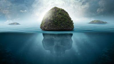 Skull, Island, Seascape, Tropical, Caribbean, Surreal, Blue, 5K
