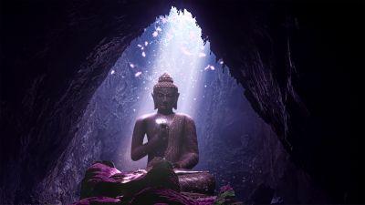 Lord Buddha, Statue, Cave, Sunlight, Lighting
