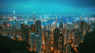 Hong Kong, Victoria Peak, Cityscape, Night, Skyline, City lights, Metropolitan, 5K