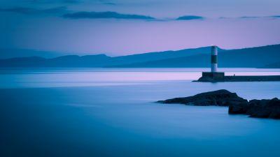 Grand Marais, Lighthouse, Coastline, Long exposure, Breakwaters, Mountains, Dusk, Landscape, 5K
