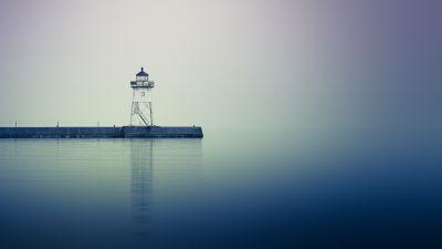 Grand Marais, Lighthouse, Minnesota, Reflection, Jetty, Harbor, Body of Water, 5K