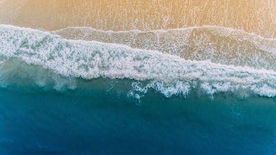 Seashore, Beach, Aerial view, Coast, Blue Ocean, Water waves, Sand