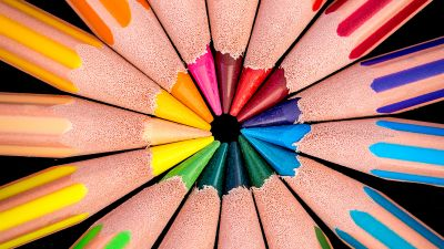 Color pencils, Multicolor, AMOLED, macro, Pattern, Circular