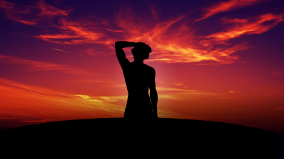 Alone, Silhouette, Sunset, Mood, Physique