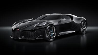 Bugatti La Voiture Noire, World's Expensive Cars, Hypercars, Black background, 5K
