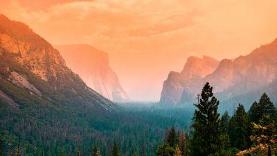 Yosemite Valley, Summer, Green Trees, Orange sky, Cliffs, Mountains, Foggy, Sunset