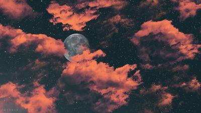 Full moon, Dark background, Cloudy Sky, Stars, Digital Art, 5K, 8K