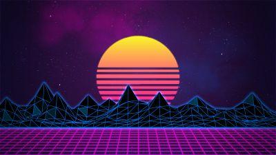 Retrowave, Synthwave, Vaporwave, Digital Art, Neon art, Purple background, Pattern